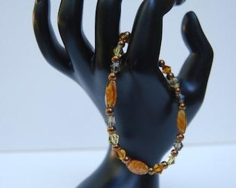 Autumn Colored Glass Beaded Bracelet