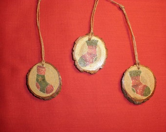 3 Rustic Christmas Ornaments, Stocking Trio Reclaimed Tree Branch Slice