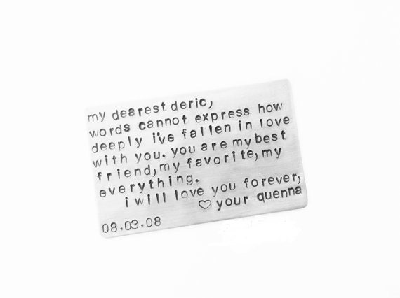 Aluminum Wallet Insert Keepsake Card 10 Year Anniversary Create Your Own Message For the one You LOvE