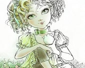 Digital Stamp - Little Elf Kia - digistamp - Big Eye Girl w/ Curls Sipping from a Flower Cup - Fantasy Line Art for Cards & Crafts