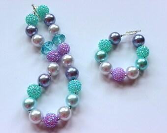 Girls chunky necklace and bracelet set Birthday aqua, lilac and silver bubblegum bead necklace matching bracelet Little girl bracelet set
