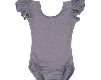 GRAY / GREY Toddler & Girls Flutter / Ruffle Short Sleeve Leotard