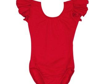 RED Toddler & Girls Flutter / Ruffle Short Sleeve Leotard
