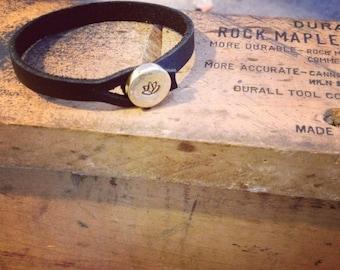 Lotus Bracelet, lotus, Yoga Bracelet, lotus charm, lotus flower, House of Metalworks, Leather Bracelet, Leather Cuff, b254b