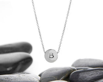 Sliding Initial Charm Necklace in Aluminum