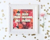 Pride and Prejudice Quote, Scrabble Wall Art, Literary Art, Jane Austen Quote, Valentines Day Gift, Apartment Decor, Romance, Book Lover