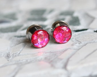 """Pink Plugs, Gauges for Ears, Earrings for Stretched Ears, Plugs for Women, Plugs Tunnels sizes 0g, 00g, 7/16, 1/2, 9/16, 5/8, 3/4, 7/8, 1"""""""