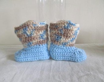 Adorable Blue Camo Hand Crocheted Baby Cowboy Boots  Size 0-3 Months - NEW DESIGN