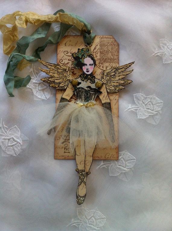 Christmas Art Tag Paper Doll Mixed Media Ballerina Angel