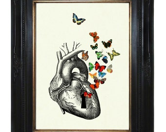 Anatomical Heart Art Print Butterflies Keyhole Love Victorian Steampunk Art Print Valentine's Day morbid Gothic insects