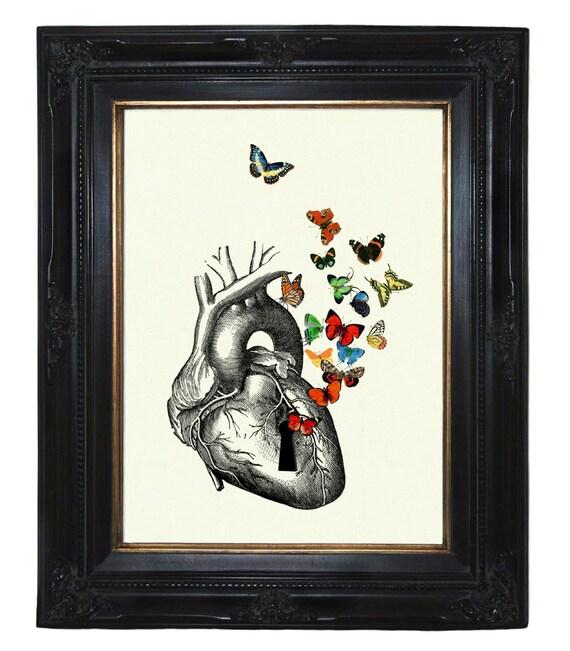 Anatomical Heart Butterflies Keyhole Love Victorian Steampunk art print