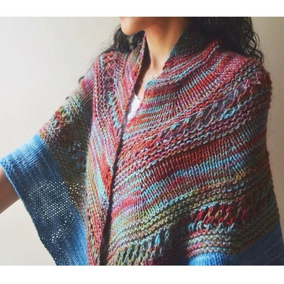 marsh sunset shawl knit scarf wrapblue pink green by