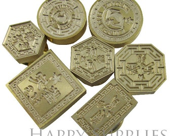 Design Your Own Shape Gold Plated Wax Seal Stamp (WS001-F) Octagon, Hexagon, Square, Triangle, Oval, Circle, Heart