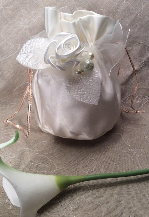Flower Girl Purse - Ivory Satin Flower Girl Handbag Flower Girl Gift ...