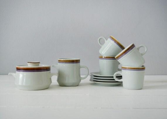 Mid Century Modern Coffee Set - Stoneware Coffee Mugs - Mid Century Kitchen - Coffee Cups and Saucers - Mint Kitchen Decor - Coffee Mug Set
