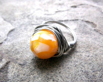 Orange Shell Ring, Mother of Pearl Ring, Wire Wrapped Ring, Orange Ring, Wire Wrapped Ring, Wire Wrapped Jewelry Handmade