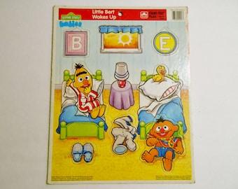 Golden Frame-Tray Puzzle-hard paper- Sesame Street Little Bert Wakes Up  Jim Henson  Children's  Television Workshop 1991