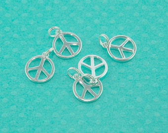 sterling silver charm - 10pcs - silver Peace Sign pendant - 925 Peace Symbol necklace charm