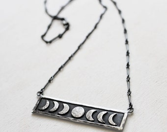 Sterling Silver Moon Phase Necklace. Lunar Phases of The Moon Jewelry. Crescent Moon. Celestial Jewelry. Occult Inspired Jewelry. Rustic.