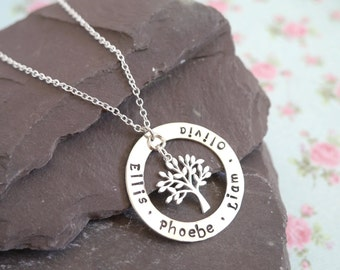 Family Tree Necklace, Sterling Silver, Birthday Gift Idea for Wife, Mothers Jewellery, Personalised Names, Childrens Names, Tree of Life