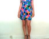 Vintage 1980s Summer Dress beach dress geometric pattern colorful art stretch dress