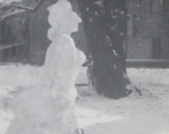 Strange 1940's Victorian Style Woman Snowman Snow Sculpture Snapshot Photo - Free Shipping