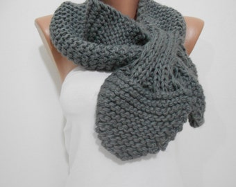 Knitted Bow Scarf Gray Scarf Ascot Neck Warmer Winter Scarf Women Fashion Accessories Cozy Scarf Christmas Gift Ideas For Her