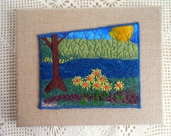 Landscape needle felted embroidered mixed media collage fiber art for wall, felted wool, thread painted, ready to hang, burlap border 3