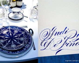 Custom dotted calligraphy placecards