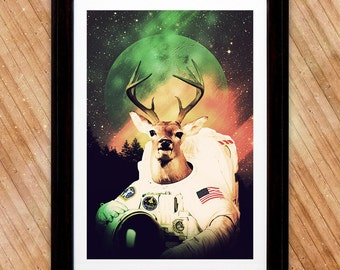 Space Buck Astronaut Poster, Space Print, Mountain Sky