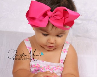 Baby headbands, hot pink bow, baby girl headbands, girls bow clip, hot pink headbands, pink headbands, infant headbands, baby bows