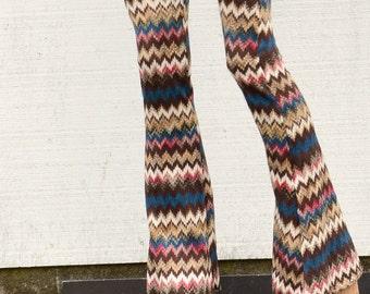 SWEATER KNIT chevron stripe fall fashion boho beach gypsy festival dance stretch yoga flare leg bell bottoms