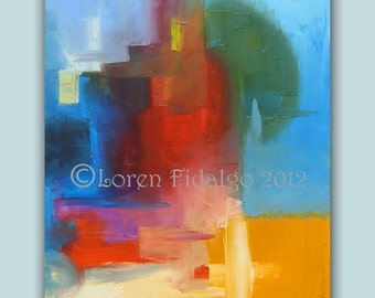 AbstractPainting,ModernPainting,ContemporaryPainting,OriginalPainting,24x30,LargePainting,OilPainting,Blue,Red,Yellow,Orange,LorenFidalgo