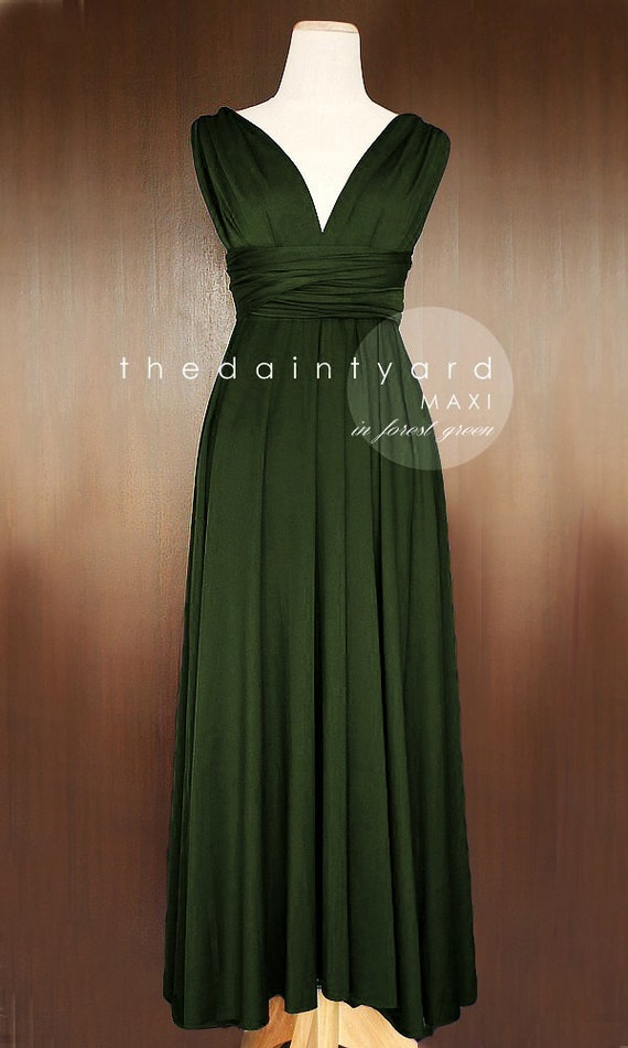 Maxi forest green bridesmaid dress convertible by thedaintyard for Forest green wedding dress