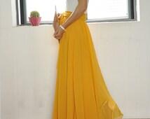 Beautiful Bow Tie Chiffon Maxi Skirt Silk Skirts Yellow Elastic Waist Summer Skirt Floor Length Long Skirt (037)