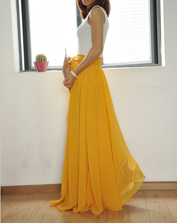 Beautiful Bow Tie Chiffon Maxi Skirt Silk Skirts Yellow