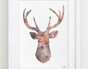 Art Watercolor Painting - Orange Deer 5x7 Archival Print - Deer Watercolor Print - Orange, Grey Deer Silhouette Art - Wall Decor, Gifts