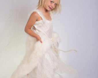 Vintage 80s Little Girls Maribou Feathers Pagent Dress Gown