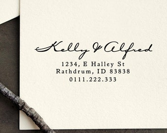 Personalized Custom Return Address Stamp Name Wedding Gift Card Handle Mounted Rubber Stamp Or Pre-inked Stamp Self inking Stamp RE634