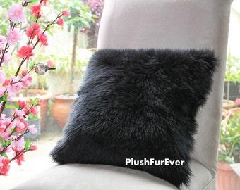"17""x17"" Black Luxury Shaggy Fur Pillows Faux Fake Fur Pillow (INSERT INCLUDED) Bedding Sofa Pillows decor"