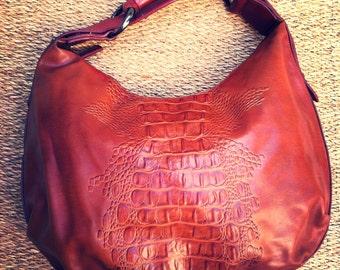Vintage boho handbag-vintage hobo handbag-retro handbag-faux crocodile handbag-boho chic handbag