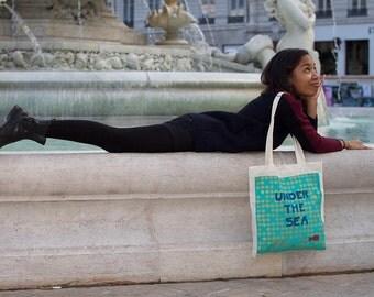 """Sac cabas """"Under The Sea"""" turquoise / Grand sac fourre-tout / réutilisable / peint à la main"""