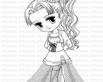 Digi StampSerenade Pretty Girl Coloring page Big eyed girl