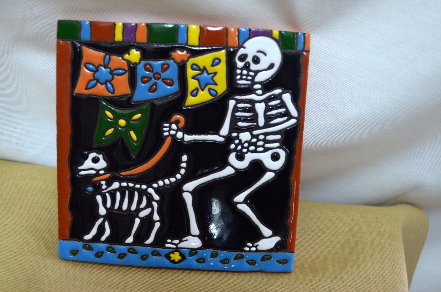 Talavera Mexican Tile Mosaic Day Of The Dead Tiles Clay