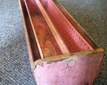 PRICE REDUCED ***** PINK Vintage Large Handmade Tool Caddy // Tool Box //  with Removable Pieces