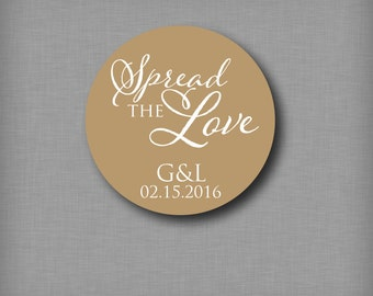 Spread the Love Custom Wedding Stickers for Jam Mason Jar Favor Labels Bridal Shower Jelly Jars