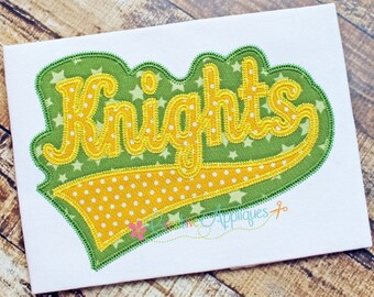 Knights Digital Machine Embroidery Applique Design 6 sizes, knights applique, knights mascot, knights word, knights name, knights team