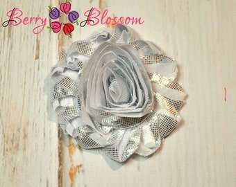 "2.5"" Shiny Silver Chrome shabby flower trim - frayed chiffon - rose flowers by the yard - Shiny shabby - JT"