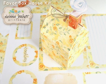 """Mini House Favor Box Kit with curly smoke chimney, editable recipe cards, tags and stickers, 4.25"""" x 2.25"""" x 2.5"""", Title Keepsake Recipes"""