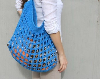 Crochet Beach Bag, Crochet tote, Ocean Blue Bag, Summer Tote, Crocheted cotton bag, Womens bag, Shoulder bag, Handmade bag, Womens fashion